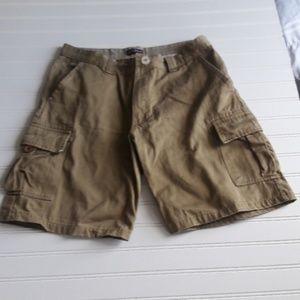 Men dark khaki cargo shorts